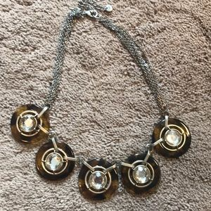Tortoise shell and rhinestone necklace